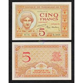 Madagascar 5 Francs, 1937, P-35, UNC
