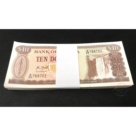 Guyana 10 Dollars X 100 PCS, Full Bundle, 1992, P-23, UNC