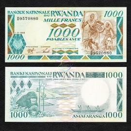 Rwanda 1,000 Francs, 1988, P-21, UNC