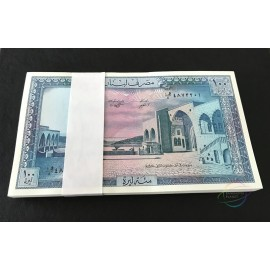 Lebanon 100 Livres X 100 PCS, Full Bundle, 1988, P-66, UNC