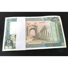 Lebanon 250 Livres X 100 PCS, Full Bundle, 1988, P-67, UNC