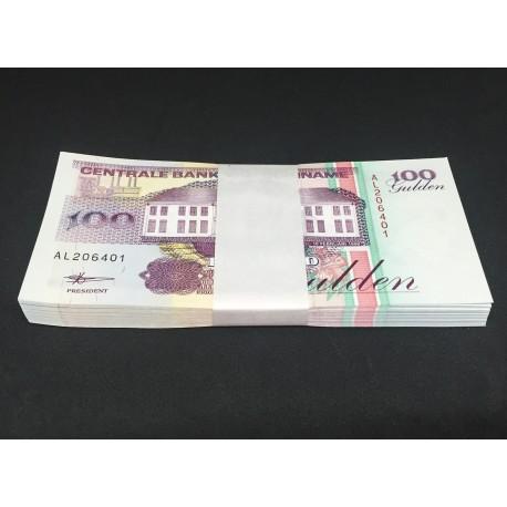 Suriname 100 Gulden X 100 PCS, Bundle, 1998, P-139b, UNC