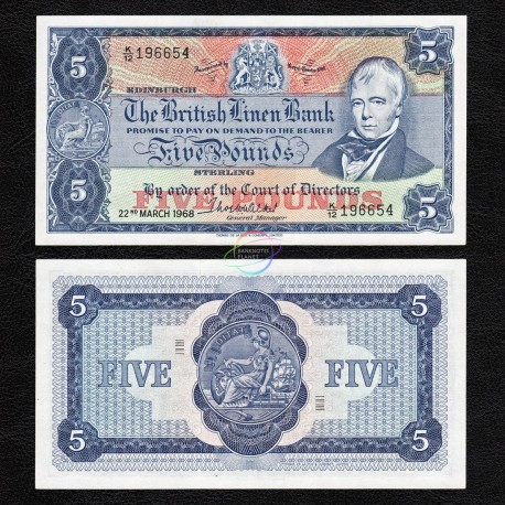 Scotland 5 Pounds, 1968, P-170, AUNC