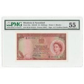 Rhodesia & Nyasaland 10 Shillings, 20 May 1960, P-20a, PMG 55 AU