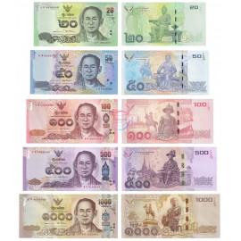 Thailand 20, 50, 100, 500, 1000 Baht Set, 2016, P-118, 119, 120, 121, 122, UNC