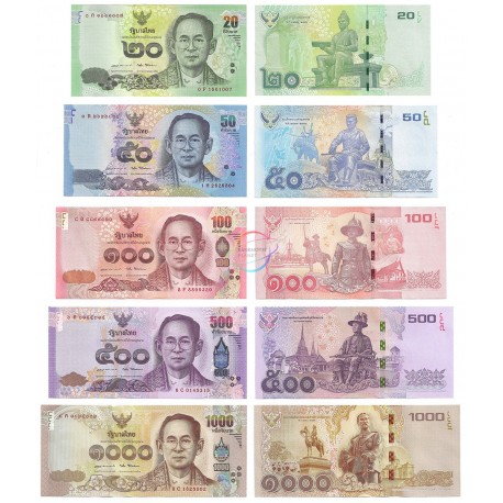 Thailand 20, 50, 100, 500, 1000 Baht Set, Sign 87, 2016, P-118, 119, 120, 121, 122, UNC