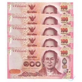 Thailand 100 Baht X 5 PCS, Sign 85, 2015, P-120, UNC