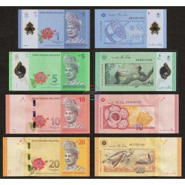 Malaysia 1, 5, 10, 20 Ringgit Set, 2012, P-51, 52, 53, 54, UNC