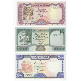 Yemen Arab Republic 100, 200, 500 Rials Set, 1993 1996 1997, P-28 29 30, UNC