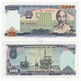 Vietnam 5,000 Dong, 1987, P-104, UNC