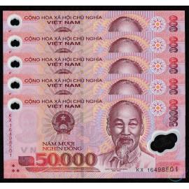 Vietnam 50,000 Dong X 5 PCS, 2016, P-121, UNC
