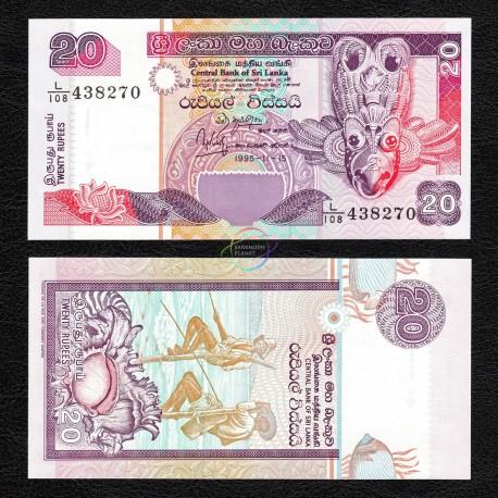 Sri Lanka 20 Rupees, 1995, P-109, UNC