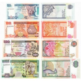 Sri Lanka 50, 100, 500, 1000 Rupees Set, 2001-06, P-117e 118a 119b 120b, UNC