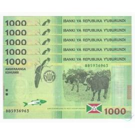 Burundi 1,000 Francs X 5 PCS, 2015, P-51, UNC