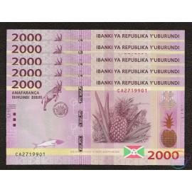 Burundi 2,000 Francs X 5 PCS, 2015, P-52, UNC