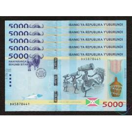 Burundi 5,000 Francs X 5 PCS, 2015, P-53, UNC