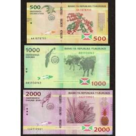 Burundi 500, 1000, 2000 Francs Set, 2015, P-50, 51, 52, UNC