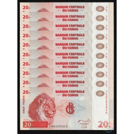 Congo D.R. 20 Francs X 10 PCS, Printer HDM, 1997, P-88A, UNC