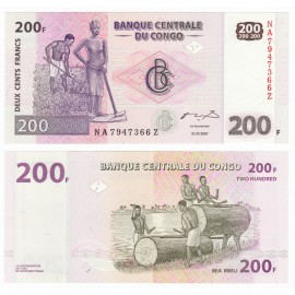 Congo D.R. 200 Francs, *Z* Suffix, Replacement, 2007, P-99, UNC