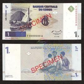 Congo D.R. 1 Franc, Specimen, 1997, P-85s, UNC