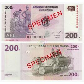 Congo D.R. 200 Francs, Specimen, 2007, P-99s, UNC