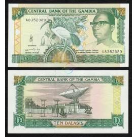 Gambia 10 Dalasis, Sign 11, 1991-95, P-13b, UNC