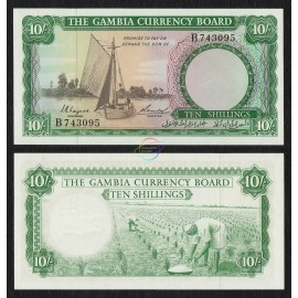 Gambia 10 Shillings, 1965-70, P-1, First Issue, UNC