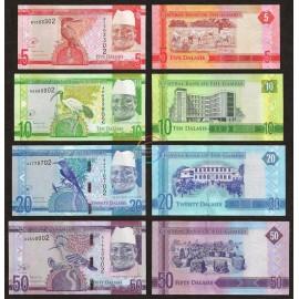 Gambia 5, 10, 20, 50 Dalasis Set 4 PCS, 2015, P-31, 32, 33, 34, UNC