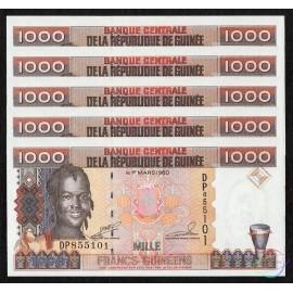 Guinea 1,000 Francs X 5 PCS, 1998, P-37, UNC