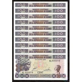 Guinea 100 Francs X 10 PCS, 1998, P-35a, UNC