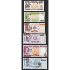 Guinea 100 - 20,000 Francs Set 6 PCS, 2015, P-46, 47, 48, 49, 50, UNC