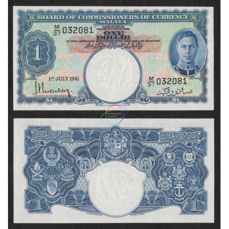 Malaya 1 Dollar, King George VI, 1941, P-11, UNC