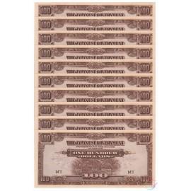 Malaya 100 Dollars X 10 PCS, MT, 1944, P-M8a, WTM, UNC