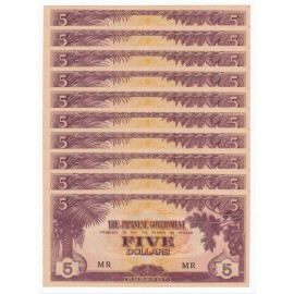 Malaya 5 Dollars X 10 PCS, MR, 1942, P-M6c, AU-UNC