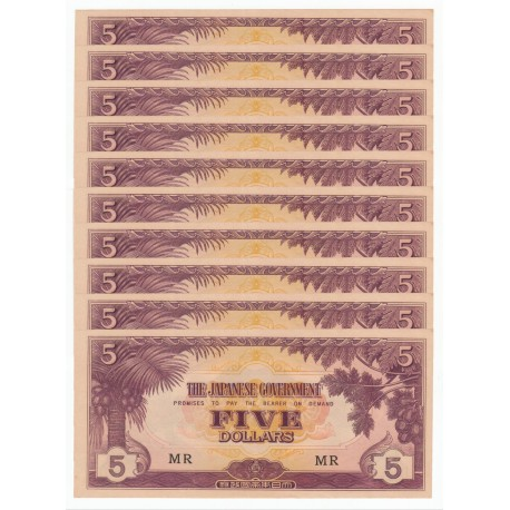 Malaya 5 Dollars X 10 PCS, MR, 1942, P-M6c, AU-UNC