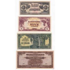 Malaya 1, 5, 10, 100 Dollars Set 4 PCS, 1942-1945, P-M5c, M6c, M7b, M8a, AU-UNC