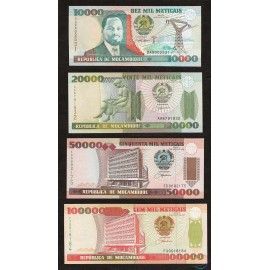 Mozambique 10,000-100,000 Meticais Set 4 PCS, 1991-99, P-137, 138, 139, 140, UNC