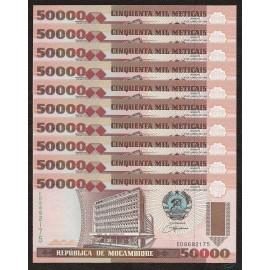 Mozambique 50,000 Meticais X 10 PCS, 1993, P-138, UNC