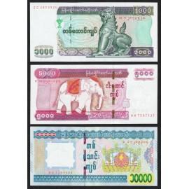 Myanmar 1,000, 5,000, 10,000 Kyats Set 3 PCS, 2004 2015, P-80, 83, 84, UNC