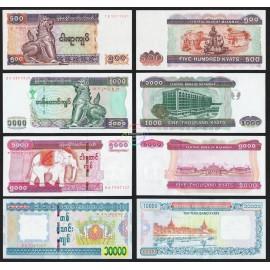 Myanmar 500 1,000, 5,000, 10,000 Kyats Set 4 PCS, 2004 2015, P-79, 80, 83, 84, UNC