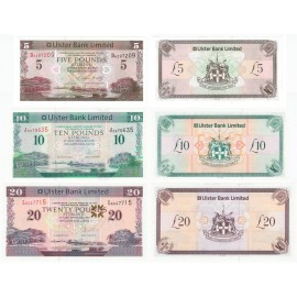 Northern Ireland 5, 10, 20 Pounds Set 3 PCS, 2007 2012 2014, P-340, 341, 342, UNC