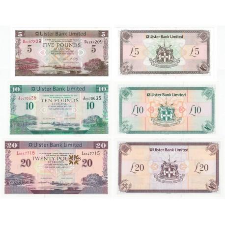 Northern Ireland 5, 10, 20 Pounds Set 3 PCS, 2007 2012 2014, P-340, 341, 342, UNC
