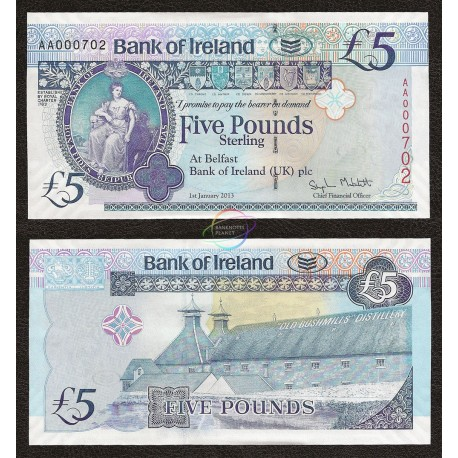Northern Ireland 5 Pounds, AA Prefix, Low Serial, 2013, P-86, UNC