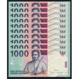 Indonesia 1,000 Rupiah X 10 PCS, 2013, P-141, UNC