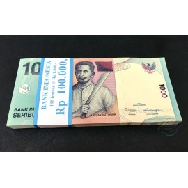 Indonesia 1,000 Rupiah X 100 PCS, X Replacement, Full Bundle, 2013, P-141, UNC