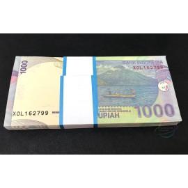 Indonesia 1,000 Rupiah X 100 PCS, X Replacement, Full Bundle, 2013, P-141, UNC
