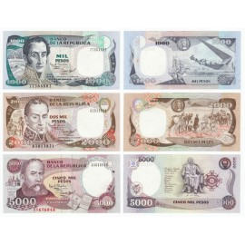 Colombia 1,000, 2,000, 5,000 Pesos Set 3 PCS, 1993-95, P-438, 439, 440, UNC