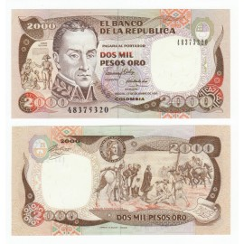 Colombia 2,000 Pesos, 1990, P-433c, UNC