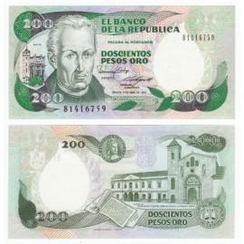 Colombia 200 Pesos, 1989, P-429d, UNC