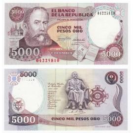 Colombia 5,000 Pesos, 1990, P-436, UNC
